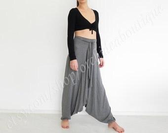 Pants wide harem pants cropped Wide leg pants plus size yoga pants plus size drop crotch pants Aladdin Pants Boho Pants Gypsy Pants