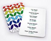 WPI Gauge Card, Rainbow Knit Stitch Gloss Business Card, Spinners Friend