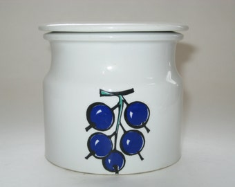 Arabia Finland Rare TUTTI FRUTTI Berries Lingonberry Jam Jar Pot w/ Lid - Kaj Franck & Ulla Procope Sugar Bowl
