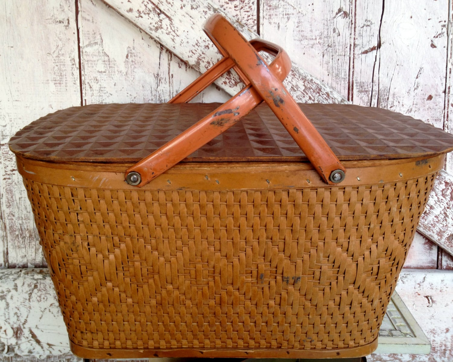 Vintage Picnic Basket Large Wicker With By Lititzcarriagehouse