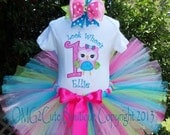 Look Whoo's One Owl --1st Birthday outfit --Party outfit --Photo Prop -Can be personalized with name and any BD number