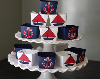 Nautical Candy Cups, Nut Cups, Dessert Cups, Shower Favors, Wedding Favors, Birthday Favors, Nautical Theme, 24 Pcs