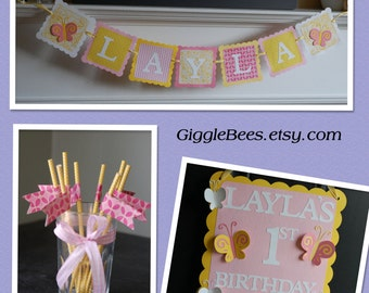 Butterfly Party Package, Butterfly Name Banner, Butterfly Door Sign, Butterfly Straws, Pink Yellow