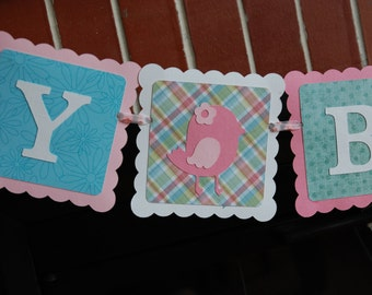 Bird Happy Birthday Banner, Bird Birthday, Bird Decorations, Pinks, Aquas