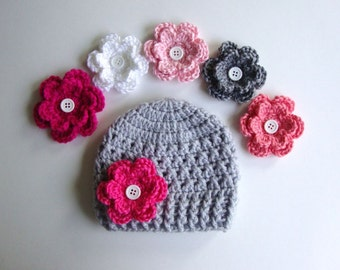 Baby Girl Hat, Baby Hat, Newborn Hat, Crochet Hat, Flower Hat In Light Gray, Photo Prop, Hat with 5 Flowers