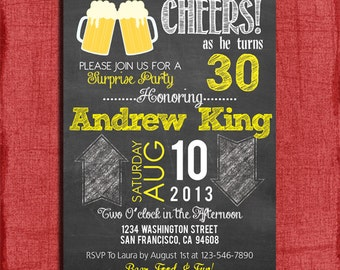 Surprise 21st, 30th, 40th, 50th Beer Chalkboard Style Birthday Invitation 4x6 or 5x7-Printable