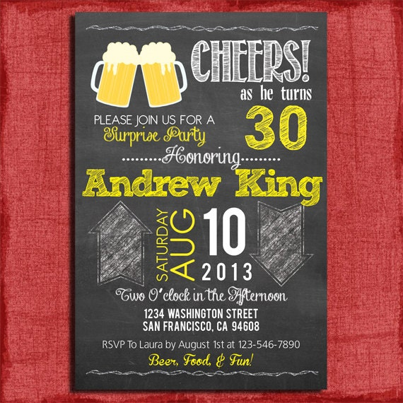 Surprise 21st 30th 40th 50th Beer Chalkboard Style Birthday – Surprise 30th Birthday Invites