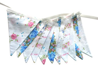 Vintage Bunting - Retro Pink, Blue, White & Lace, Pastel Floral Flags. HANDMADE . Shabby Chic, Party Decoration, Parties, Party, Wedding etc