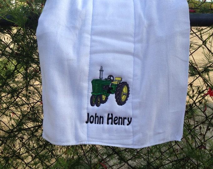 John Deere tractor burp cloth or white bib, Personalize tractor burp cloth or white bib for baby boy or baby girl