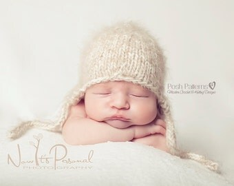 Knitting PATTERN - Knit Baby Hat Pattern - Knitting Patterns - Baby Earflap Hat - Knit Hat Pattern - 3 Sizes - Photo Prop Pattern - PDF 144