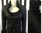 Vintage Gothic black pulled textured dress with malleable Edwardian style Collar and cuffs