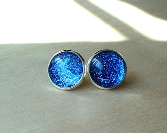 20% OFF -- Glittering Midnight Blue Stud Earring / Ideal gift for her