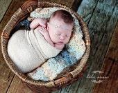 Stretch wrap - 'LINEN' newborn stretch wrap  / scarf - prop blanket - knitbysarah - Stitches by Sarah
