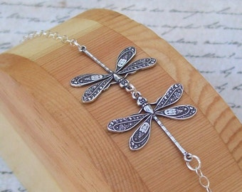 Silver Dragonfly Bracelet, Sterling Silver Bracelet, small anklet, summer, spring fashion, kissing dragonflies, matte