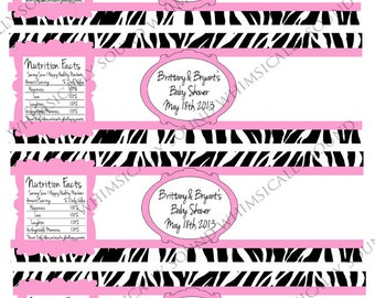 Zebra print baby pink custom water bottle labels PDF
