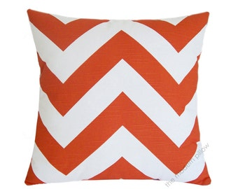 Orange and White Chevron Zig Zag Stripe Decorative Throw Pillow Cover / Cushion Cover / Cotton / 20x20""