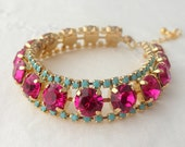 Hot pink and turquoise bracelet, Tennis bracelet, Bridal barcelet, Mother of bride gift, Mother of groom gift, Bridesmaid bracelet