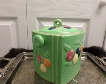 Vintage 50s COOKIE JAR..Bisquit Jar..Green Retro  Made in Japan  Country Cottage Shabby Chic
