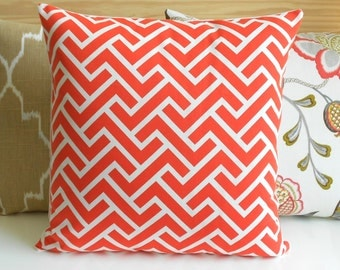 SALE Both sides, Coral geometric zig zag decorative pillow cover