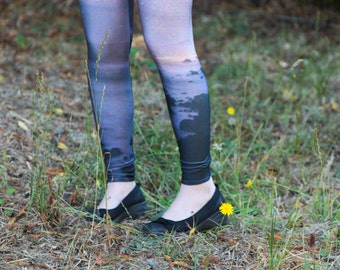 SALE Galaxy Beach Printed Leggings // Size Medium // Women's Leggings // Yoga Leggings // Printed Space Leggings // Patterned Leggings
