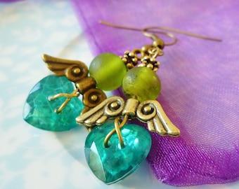 Angel Button earrings - Green crystal heart earrings