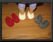 "slippers shoes 3 Pairs Hand-Crocheted for 18 inch 18"" dolls will fit American Girl"