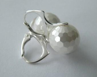 South Sea Pearl Earrings, Sterling Silver Dangle Earrings, White Pearl Drop Earrings, Bride Earrings