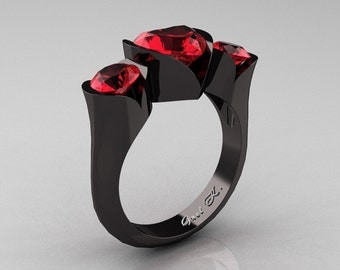 Nature Classic 14K Black Gold 2.0 Ct Heart Rubies Three Stone Floral Engagement Ring Wedding Ring R434-14KBGR