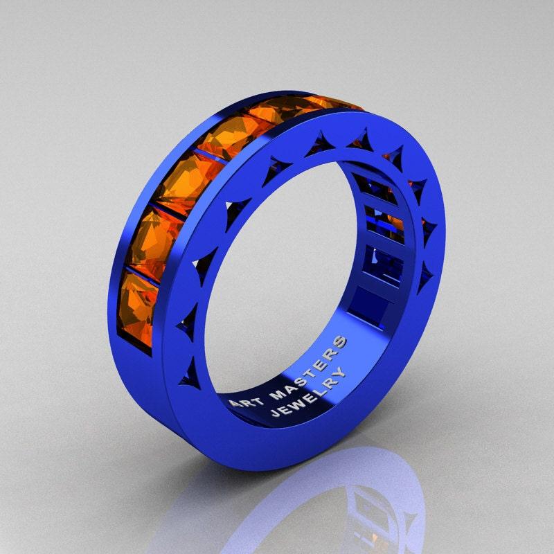 mens modern italian 14k blue gold princess orange sapphire