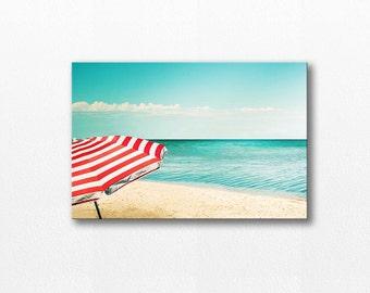 beach photography canvas wrap 12x18 24x36 fine art photography ocean canvas gallery wrap large canvas print beach umbrella photography teal