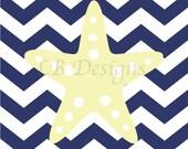 Navy Blue and Light Yellow Nautical Nursery Print, Starfish Nursery Art - 8x10