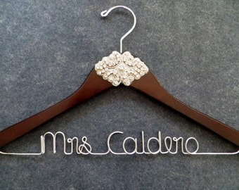 CRYSTAL Wedding Dress Hanger, Rhinestone Bridal Hanger, Personalized Bride Hanger, Shower Gift, Custom Last Name Hanger, Mrs Hanger