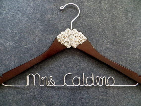 Crystal wedding dress hanger rhinestone bridal by lynnclaire for Mrs hangers wedding dress