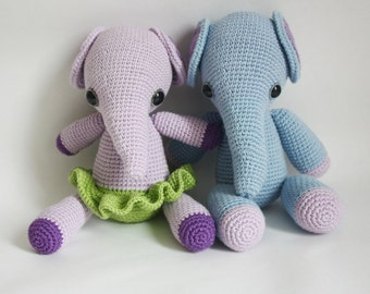 2 PATTERNS - Crochet Elephant Pattern - Mio and Mia - Amigurumi Pattern - Instant Download - Printable - In English