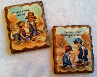 Set of 2 Vintage Little Wooden Wall Hangings