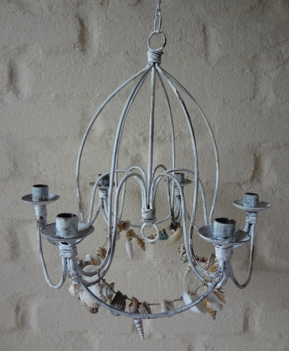 Rustic Chandelier Farmhouse Chandelier Shabby By Makariosdecor: CHANDeLIER RUsTIC SHAbbY CHIC SEAsHELLS INDOOrs OUTDooRS