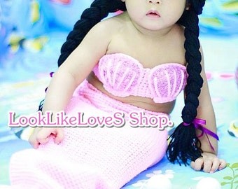 Baby Mermaid Crochet Photo Prop 0-12M U pick color free shipping