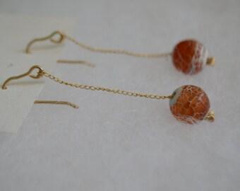 14k Gold Filled Agate Dangle Earrings