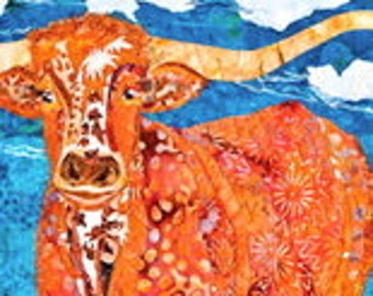 LONGHORN STEER APPLIQUE Pattern from the Desert Series by Susan Cranshaw
