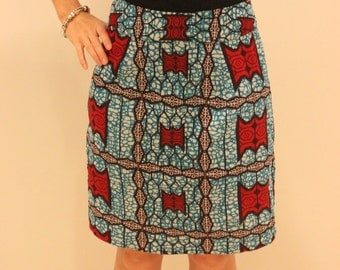 Blue Red Burgundy Wax Print Straight Knee Length Skirt  - Size UK10 / S. (Waist 27inches) other sizes available