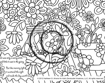 instant pdf download coloring page hand drawn zentangle inspired psychedelic sunny smile abstract zendoodle hippie by kat