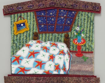 A Pace To Rest -  digital print from the Meanings of HOME collection of hand-stitched bead and fiber art