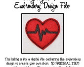 In The Hoop Heart EKG Feltie Embroidery Design INSTANT DOWNLOAD