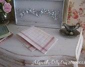 Homespun Red Tea Towel for Dollhouse, 1:12 scale Miniature