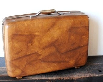 1970s American Tourister Suitcase Luggage, Vintage Large Hard Travel Case, Brown Marble