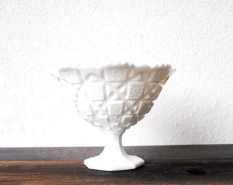 Westmoreland White Milk Glass Bowl, Footed Candy Dish Compote, Vintage Decor Serving