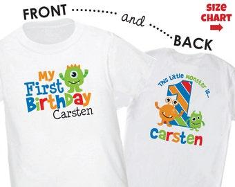 Little Monster Birthday Shirt or Bodysuit - Boys Personalized Monster First Birthday Shirt - Monster 1st Birthday Outfit