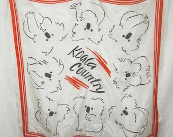 Vintage 90s Koala Country Silk Scarf