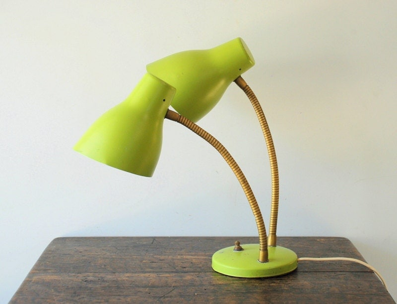 Sale Vintage Double Adjustable Goose Neck Lime Green Desk Lamp