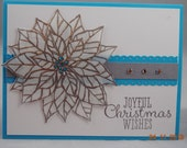 Handcrafted Turquoise & Silver Poinsettia Christmas Card
